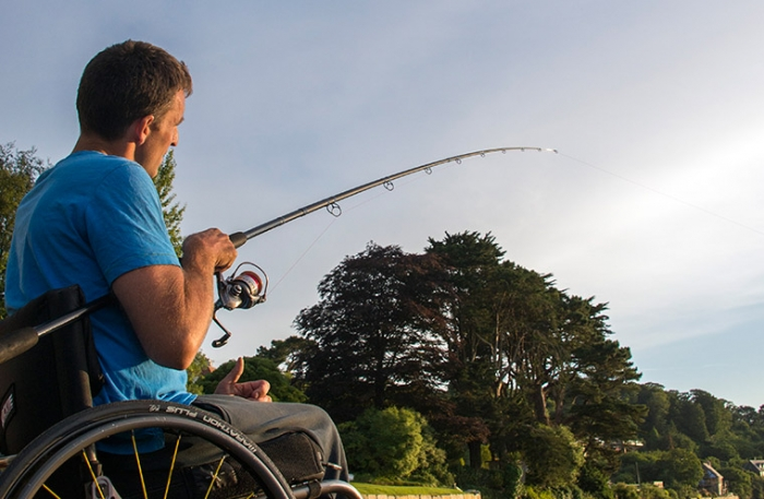 Disabled man fishing
