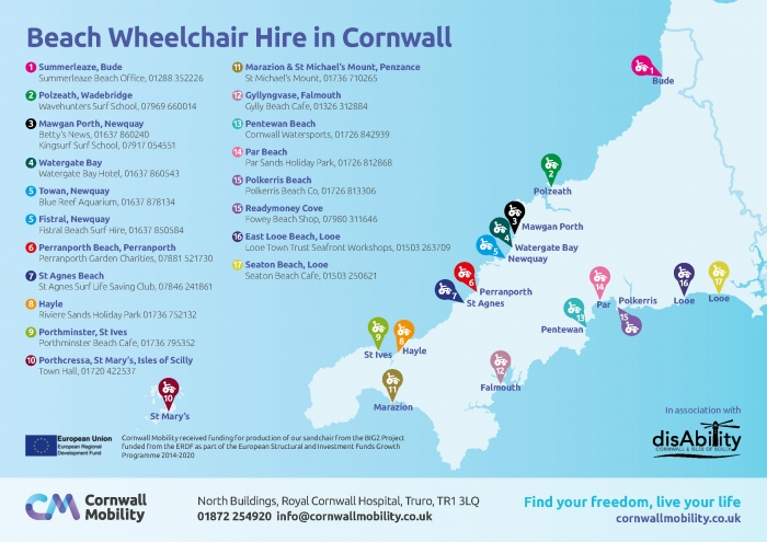 Map Of Uk Beaches.Hire A Beach Wheelchair In Cornwall Cornwall Mobility